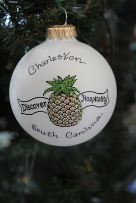 Pineapple Charleston Frosted Ball Ornament