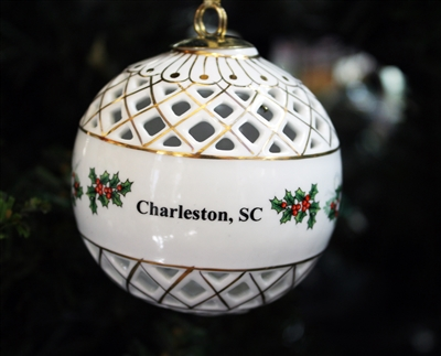 Diamond Cut Holly Ceramic Charleston Ornament