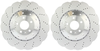 FRONT PAIR - Cross Drilled Brake Rotors - 14-18 Audi RS7