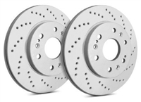 FRONT PAIR - Cross Drilled Rotors With Gray ZRC (360mm) - C01-289