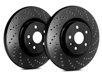 FRONT PAIR - Cross Drilled Rotors With Black Zinc Plating - C32-389-BP