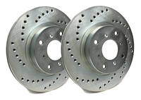 FRONT PAIR - Cross Drilled Rotors With Silver Zinc Plating - C32-389-P