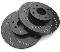 REAR PAIR - Cross Drilled Rotors With Silver Zinc Plating