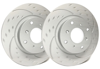FRONT PAIR - Diamond Slot Rotors With Gray ZRC - D55-150