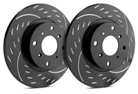 FRONT PAIR - Diamond Slot Rotors With Black Zinc Plating - D32-375-BP