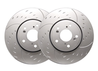 FRONT PAIR - Diamond Slot Rotors With Silver Zinc Plating - D32-375-P