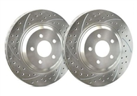 REAR PAIR - Double Drilled and Slotted Rotors With Silver ZRC Coating - S01-288-P
