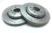 REAR PAIR - Drilled And Slotted Rotors With Silver Zinc Plating