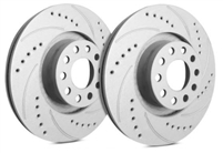 REAR PAIR - Drilled And Slotted Rotors With Gray ZRC - F32-348