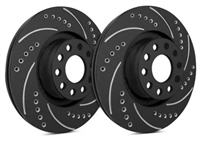 FRONT PAIR - Drilled And Slotted Rotors With Black Zinc Plating - F55-185-BP