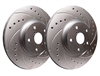 REAR PAIR - Drilled And Slotted Rotors With Silver Zinc Plating - F01-939-P