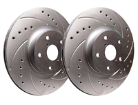 FRONT PAIR - Drilled And Slotted Rotors With Silver Zinc Plating - F01-302E-P