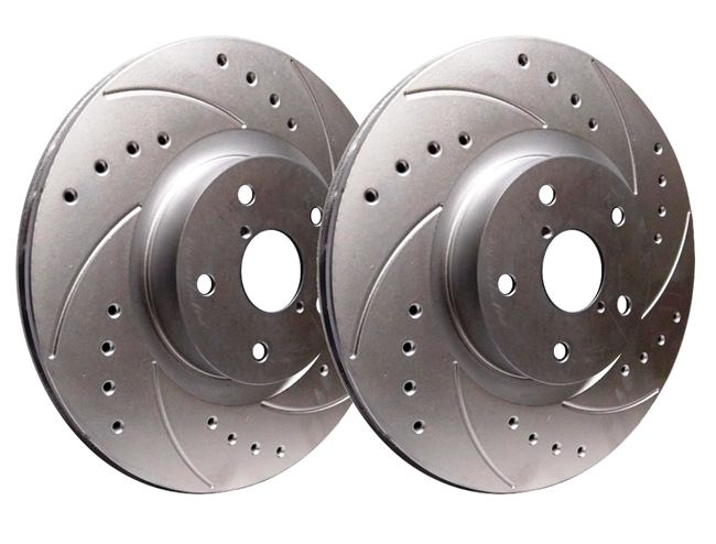 FRONT PAIR - Drilled And Slotted Rotors With Silver Zinc Plating - F55-126-P