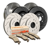 REAR KIT - Cross Drilled Brake Rotor Kit with Semi-Metallic Brake Pads (Choose your Coating) - C19-372MD1086