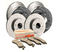 REAR KIT - Diamond Slotted Brake Rotor Kit with Semi-Metallic Brake Pads (Choose your Coating) - D19-1554MD374