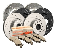 FRONT KIT - Drilled and Slotted Brake Rotor Kit with Semi-Metallic Brake Pads (Choose your Coating) - F19-0090MD1584