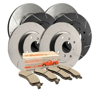 FRONT KIT - Slotted Brake Rotor Kit with Semi-Metallic Brake Pads (Choose your Coating) - T19-455MD1089