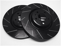 FRONT PAIR - Slotted Rotors With Black Zinc Plating