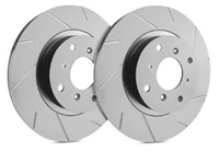 REAR PAIR - Slotted Rotors With Gray ZRC - T32-348