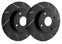FRONT PAIR - Slotted Rotors With Black Zinc Plating - T55-150-BP