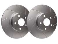 FRONT PAIR - Slotted Rotors With Silver Zinc Plating - T55-150-P