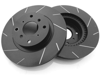 REAR PAIR - Slotted Rotors With Silver Zinc Plating