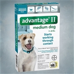 Advantage II Teal (Dogs 11-20 lbs) 6 pack