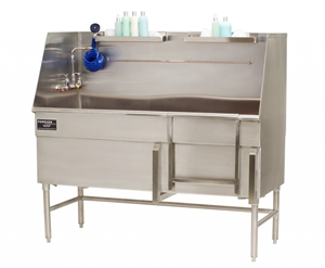 "Forever Stainless Steel 60"" x 27"" Step-In Tub w/ Door, Hair Catcher & Pump Recess"