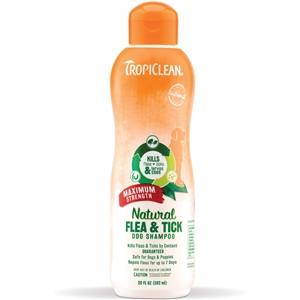 Tropiclean All Natural Flea & Tick Shampoo Max Strength 20.oz