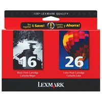 Lexmark 10N0202 (#16/#26) OEM Ink Cartridge Combo Pack (Bk & Clr)