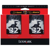 Lexmark 18C0533 (#32) OEM Black Ink Cartridge 2-pack