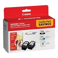 "Canon 2973B004 OEM Black & Color Inkjet Cartridge & 50 4"" x 6"" Photo Paper Multipack"