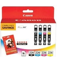 "Canon 2946B004 CLI-226 OEM 4 Color Inkjet Cartridge & 50 4"" x 6"" Photo Paper Multipack"