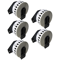 Brother DK-2210 Compatible Continuous Paper Tape 5-Pack Black On White
