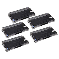 Brother TN350 Set of Five Compatible Jumbo (100% Higher Yield!) Black Toner Cartridges Value Bundle