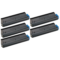 Okidata 43979201 Compatible Set of Five Black Laser Toner Cartridge Value Bundle