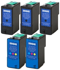 Dell M4640, M4646 Remanufactured Ink Cartridge Five Pack Value Bundle