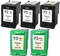 HP C936 Series (HP 92 & 93) Remanufactured Ink Cartridge Five Pack Value Bundle