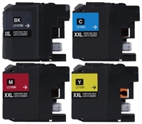 Brother LC107BK/LC105 Compatible Ink Cartridge Super High Yield 4 Pack Value Bundle