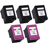 HP 65XL Remanufactured High Yield Ink Cartridge 5-Pack
