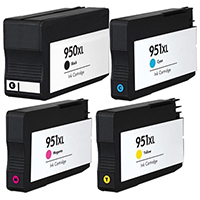 HP 950XL & 951XL Remanufactured Ink Cartridge 4-Pack Color Set C2P01FN