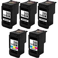 Canon PG-245XL / CL-246XL Remanufactured Ink Cartridge High Yield 5-Pack