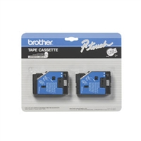 "Brother TC10 OEM 2 Pack Black On Clear P-Touch Label Tape 1/2"" x 25'"