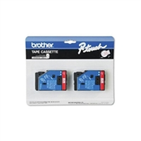 "Brother TC11 OEM 2 Pack Red On Clear P-Touch Label Tape 1/2"" x 25'"
