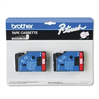 "Brother TC21 OEM 2 Pack Red On White P-Touch Label Tape 1/2"" x 25'"