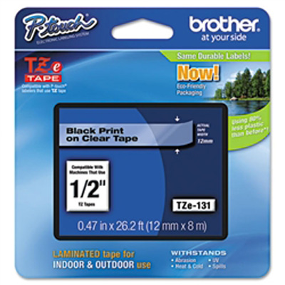 "Brother TZe131 OEM Black On Clear P-Touch Label Tape 1/2"" x 26.2'"