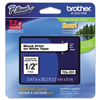 "Brother TZe231 OEM Black On White P-Touch Label Tape 1/2"" x 26.2'"