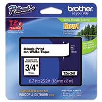 "Brother TZE241 OEM Black On White P-Touch Label Tape 3/4"" x 26'"