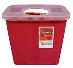 "2 Gallon Red Sharps Container with Rotor Lid - 10"" H x 7.25"" D x 10.5"" W"