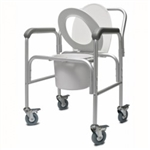 3-in-1 Aluminum Commode with Back Bar and Casters